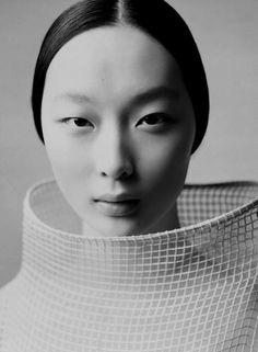 ♀ Girl portrait face black and white Asian