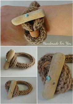 Knot bracelet. Wool bracelet. Natural driftwood bracelet. French Knitted Bracelet with Driftwood Button
