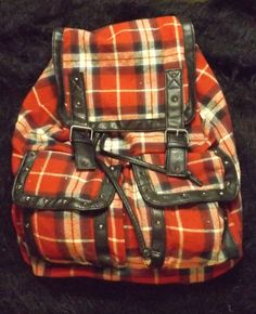 New red plaid drawstring back pack purse stud accents relaxed  roomy outdoorsy #Claires #BackpackStyle