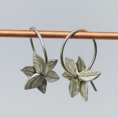 Fire-star Hoop Earrings in Sterling Silver Sterling Silver Flowers, Sterling Silver Earrings, Silver Jewelry, Gold Flowers, Flower Petals, Linen Bag, Gold Wire, Crucifix, Sally