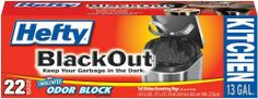 Hefty Blackout Tall Kitchen Drawstring Bag, 13-Gallon, 22-Count by Hefty. $4.49. Hides the Mess, Hides the Trash, Hides the Smell. Unscented Odor Block; Helps neutralize garbage odors. Keeps Garbage in the Dark. BlackOut Tall Kitchen 13G/22ct