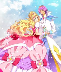 Tags: Anime, Pixiv Id 5695237, Go! Princess Precure, Haruno Haruka, Prince Kanata, Cure Flora, Gown