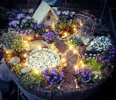 DIY Fairy Garden with Lights - I want to make this for Lexi