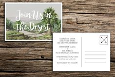 Chic desert save the date postcards featuring a vintage image of a palm-tree dotted desert and modern bohemian text. A perfect choice for your Palm Springs or desert wedding. // PAPER AND PRINTING // Each card measures 4 by 6 inches, and is printed on both sides. We print on premium 14 pt white or natural (your pick!) smooth postcard stock. Please note that choosing natural card stock may result in slightly different coloring than appears above. No envelopes come with this purchase as these…