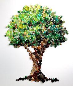 Button Tree -- Spectacular Rainbow Button Art by Karen Hurley - My Modern Metropolis Crafts To Do, Arts And Crafts, Button Picture, Button Crafts, Button Art Projects, Diy Projects, Art Plastique, Diy Art, Crafty