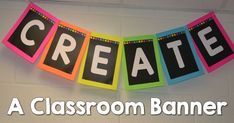 I am slightly obsessed with making classroom banner is this year. I am loving the look of banner and I love how easy they are to create. I found an additional way to make another banner so I want t… Chalkboard Classroom, Classroom Banner, Classroom Setting, Classroom Setup, Classroom Design, Classroom Displays, Kindergarten Classroom, Future Classroom, School Classroom
