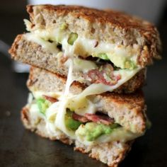 Turkey Bacon, Avocado, and Mozzarella Grilled Cheese. The salty turkey bacon is the perfect contrast to the creamy, warm avocado.