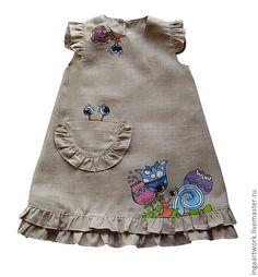 Купить Льняное детское платье. Ручная роспись. ТОЛЬКО НА ЗАКАЗ. - серый, лён