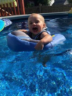 MamboFloat Baby Water Float - Swim Trainer (2 months - 2 Years) (2018) - Peach and Pumpkins