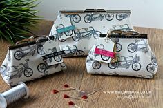 Stampin Up Pedal Pusher stamp set -- 2016 Sale-A-Bration Clutch Purse, Coin Purse, Bicycle Cards, Pedal Pushers, Purse Tutorial, Love Sewing, Stampin Up Cards, 3 D, Paper Crafts