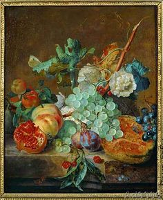 Jan van Huysum - Still life with fruits and flowers