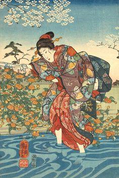 British Museum - Image gallery: Yamashiro no kuni ide no Tamagawa Japanese Drawings, Japanese Artwork, Japanese Painting, Japanese Prints, Traditional Japanese Art, Kuniyoshi, Korean Art, Japan Art, Fantastic Art
