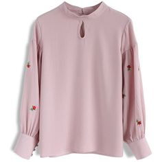 Chicwish Roses on Sleeves Embroidered Smock Top in Pink (130 BRL) ❤ liked on Polyvore featuring tops, pink, smock top, sleeve top, rose top, lip print top and pink rose tops