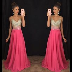 V-Neck Prom Dress Long Party Gowns Formal Pageant Evening Long Prom Dress  by fancygirldress, $169.00 USD