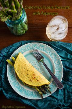 **Chickpea Flour Omelets with Asparagus: More like flatbreads than omelets, these vegan chickpea crepes or pancakes have a nutty and almost cheesy flavor all their own. Vegan Breakfast Recipes, Delicious Vegan Recipes, Healthy Recipes, Vegan Foods, Vegan Vegetarian, Vegetarian Recipes, Crepes, Fat Free Vegan, Whole Food Recipes