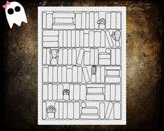 PPS-13 /// Reading List Book Tracker - Printable Bookshelf - Book Shelf Book Tracker - Bujo - Bullet Journal - Book Tracker - Reading List