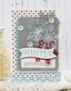 Winter Greetings Card by Melissa Phillips for Papertrey Ink (October 2014)