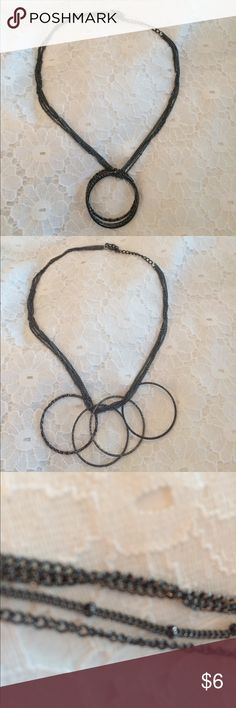 "Unique necklace with free moving bangles. 4 strand, striking piece. See pictures for strand detail. Bangles give it a  nice sparkle. extends to 23""                        💕💕We always consider reasonable offers! 🤑🤑If you buy 5 or more of like items, make offer for 30% off my total and I will accept it! 💝💝I offer bundle discount of 15% off 3 or more items  🚫🚫Trades 🚫🚫PayPal 🤦🏼‍♀️🤦🏼‍♀️Low ball offers will be ignored  😒😒Only offers made using ""offer button"" will be considered…"