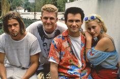 Brad Piit, Michael Rapaport, Christian Slater & Patricia Arquette on set // True Romance