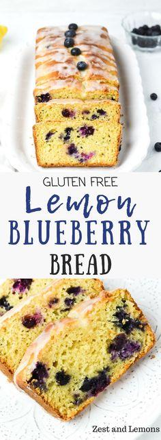 Gluten free lemon blueberry bread, sweet tangy and bursting with fresh blueberries! - Zest and Lemons #glutenfree #quickbread #glutenfreedessert