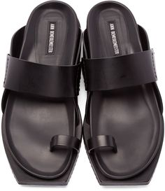 Ann Demeulemeester - Black Leather Slip-On Sandals