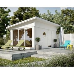 Guest house from JABO / Attefallshus Image from: Trendenser. Wow, I love this, one of the nicest garden rooms I've seen. Outdoor Areas, Outdoor Rooms, Outdoor Living, Small Summer House, Garden Studio, Backyard, Patio, Cottage Homes, Beach Cottages