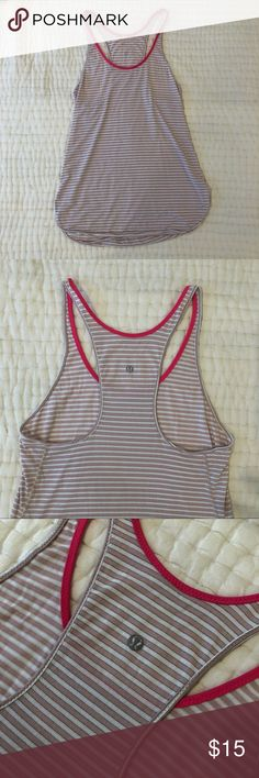 da76003272 Lululemon Striped Tank Pink and white Lululemon Tank with hot pink detail  along the neck.