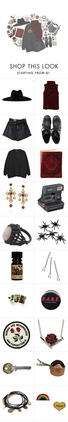 """""""+ oh my twitchy, witchy boy --☆"""" by cottoncandyprince ❤ liked on Polyvore featuring Filù Hats, Wilfred, Ash, Monki, Dolce&Gabbana, Polaroid, House of Harlow 1960, Conair, Fujifilm and Rock Rebel"""