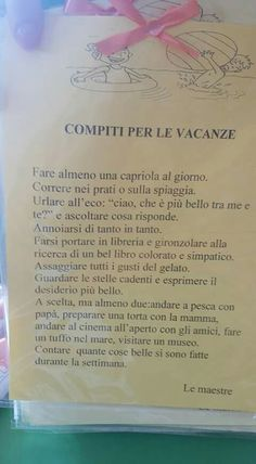 Compiti vacanze School Days, Back To School, Blog Tumblr, Classroom Setting, Learning Italian, Teaching Materials, Decorating Blogs, Nursery Rhymes, Montessori