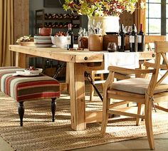 Benchwright Reclaimed Wood Fixed Dining Table Wax Pine Finish - Pottery barn pine table
