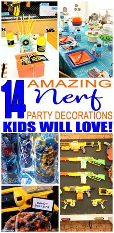 The best Nerf gun bday decorations to make your celebration a success. Kids will love any of these decor ideas. Awesome, easy and fun to make your Nerf party complete. From target practice to cakes to obstacle courses the Nerf Birthday Party, Nerf Party, Kids Birthday Themes, Boy Birthday, Party Party, Party Time, Nerf Gun Cake, Kids Party Decorations, Party Ideas