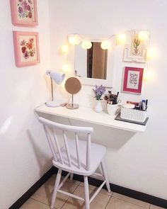 Diy room decor, bedroom decor, home decor, beauty room, diy v Built In Dressing Table, Dressing Table Organisation, Dressing Table Decor, Dressing Tables, Diy Room Decor, Bedroom Decor, Home Decor, Bedroom Ideas, Girls Bedroom