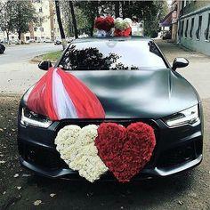 Black Audi For Wedding Schwarzer Audi für Hochzeit Wedding Car Ribbon, Wedding Pics, Car Wedding, Wedding Ideas, Wedding Card, Wedding Events, Destination Wedding, Wedding Dresses, Deco Cars