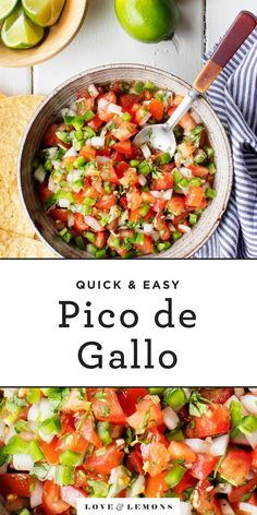 Learn how to make pico de gallo with this zesty, fresh pico de gallo recipe! It's an easy, delicious dip on its own or a flavorful topping for Mexican food. Perfect for Cinco de Mayo! Vegan Lunch Recipes, Vegetarian Appetizers, Easy Appetizer Recipes, Delicious Vegan Recipes, Vegan Dinners, Veggie Recipes, Mexican Food Recipes, Healthy Recipes, Ethnic Recipes