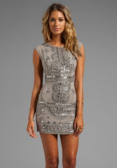 RENZO + KAI Cap Sleeve Laura Dress in Grey/Antique Silver - Gift Guide: Party Dresses