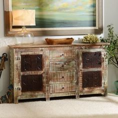 This rugged, timeworn Rustic Carved Panel Cabinet adds a coastal feel to any home! #kirklands #FromCoasttoCoast