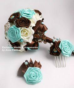 Custom brooch bouquet Bridal brooch bouquet Chocolate Mint broach bouquet…