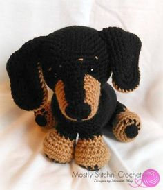 Dash The Dachshund Pup Crochet Pattern P - Diy Crafts - hadido Crochet Dog Patterns, Amigurumi Patterns, Half Double Crochet, Single Crochet, Cute Crochet, Crochet Toys, Crochet Chain Stitch, Sewing Basics, Stuffed Toys Patterns