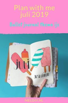 Plan with me juli 2019. Bullet journal thema ijs #coverpage # ijs #bujoideas  # bujo Cover Pages, Travelers Notebook, Sticky Notes, Bujo, How To Plan, Cards, Maps, Playing Cards