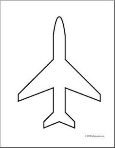 Clip Art: Transportation: Airplane Icon (coloring page) | abcteach