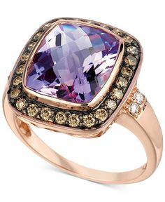 Le Vian® Amethyst (4-1/2 ct. t.w.) and Diamond (1/3 ct. t.w.) Ring in 14k Rose Gold - Rings - Jewelry & Watches - Macy's