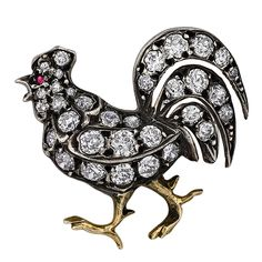 Victorian Diamond Rooster Brooch