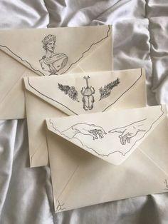 Illustration Design Graphique, Illustration Art, Tattoo Illustrations, Illustration Fashion, Pen Pal Letters, Envelope Art, Origami Envelope, Art Journal Pages, Journal Prompts