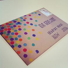 Confetti stamped envelope. Fun to send a birthday card in. Use a new pencil eraser to stamp different colors of ink for a festive 'confetti' envelope.