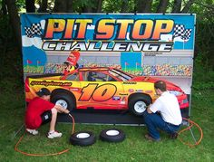Our Pitstop Challenge Tire Change game lets contestants experience the thrill and challenges of real NASCAR-style tire-changers…Challengers race against their opponent in a frantic effort to have the fastest change - using the same screaming air gun as the pros. Comes with Stock Car backdrop, real tires, Dewalt Air Compressor with air gun. Perfect for fun fairs, car dealerships or car shows!