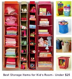Kids Storage Containers: Kids Colorful Canvas Hanging Closet Storage - Blue 11 x 48 Wide Hanging Canvas Organizer and other furniture & decor products. Kids Closet Storage, Hanging Closet Storage, Kid Closet, Closet Organization, Locker Storage, Hanging Shelves, Hanging Organizer, Closet Ideas, Closet Space