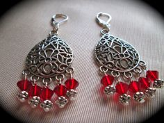Bohemian chandelier earrings with red beads by BohemianHeartland ...
