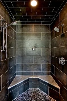 53 Inspiring Farmhouse Shower Tile Remodel Ideas - Page 44 of 53 - Choti Decor Master Bathroom Shower, Tiny House Bathroom, Bathroom Shower Curtains, Small Bathroom, Bathroom Ideas, Bathroom Showers, Bathroom Remodeling, Remodeling Ideas, Guys Bathroom