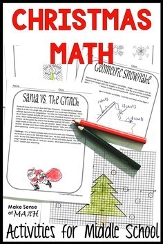 Fun Christmas math activities for middle school math.  Better than a worksheet, these math tasks will engage your students in deep-thinking which is what they need to master the common cores.  Students will practice geometry, graphing, solving systems of equations and more.  Perfect for 8th grade students during the holiday.  Click here for more information #makesenseofmath #christmasmath Algebra Activities, Math Resources, Teaching Math, Math Games, Algebra Games, Geometry Activities, Algebra 1, Math Teacher, Teaching Tips