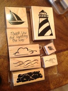 JRL CTMH Lighthouse Boat 8 Piece Wood Mount  thank you for lighting the way sailboat water cloud